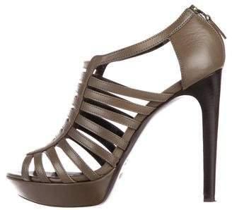Fendi Leather Cage Sandals