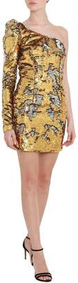 Amen One Shoulder Minidress With Gold Sequins All Over