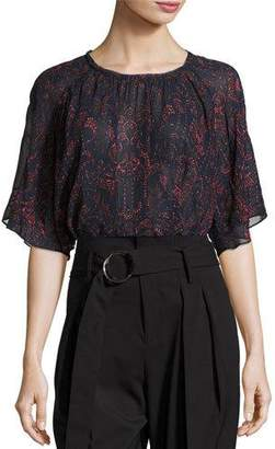 Iro Anida Floral Voile Top, Dark Navy/Red $245 thestylecure.com