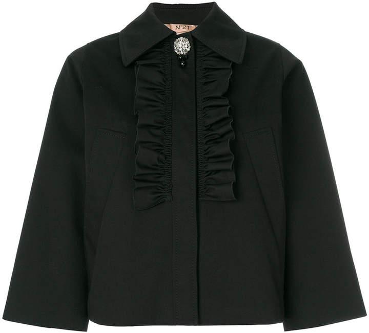 ruffle front cropped jacket