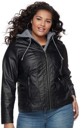 Joujou Juniors' Plus Size Jou Jou Faux-Leather Jacket