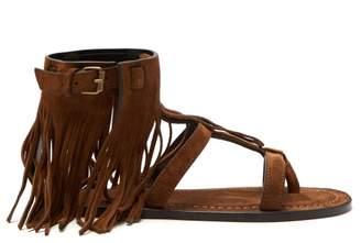 Saint Laurent - Nino Suede Fringed T Bar Sandals - Womens - Tan