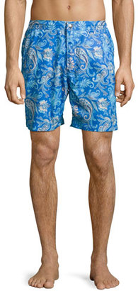 Peter Millar Paradise Paisley Swim Trunks, Navy $168 thestylecure.com