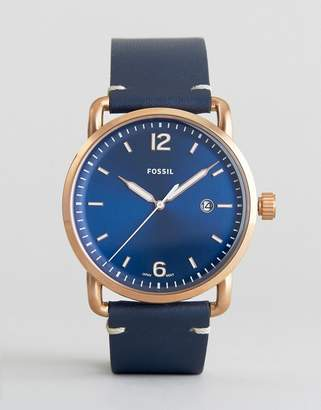 Fossil FS5274 Commuter Leather Watch In Blue