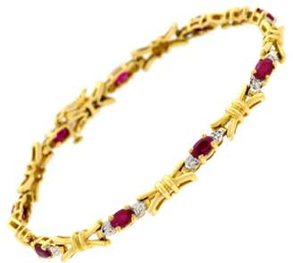 Estate 14K Yellow Gold with Ruby, Diamond Bracelet