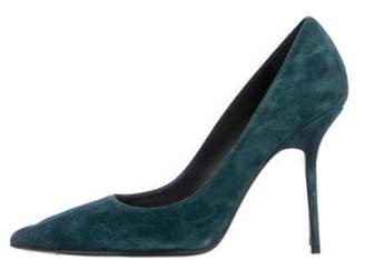 Burberry Suede Pointed-Toe Pumps Blue Suede Pointed-Toe Pumps