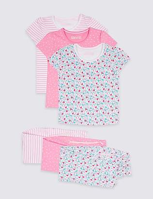 Marks and Spencer 3 Pack Pure Cotton Pyjamas (1-7 Years)