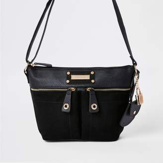 River Island Womens Black double pocket cross body bag