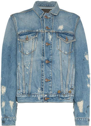 R 13 distressed detail denim jacket