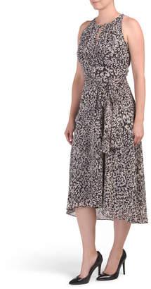 Chetta B Sleeveless Keyhole Animal Print Hi Lo Midi Dress