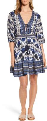 Kas Camille Mixed Print Fit & Flare Dress