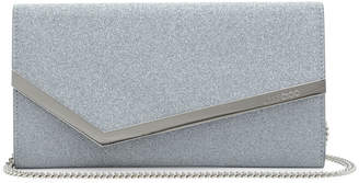 Jimmy Choo Emmie Silver Glitter Leather Clutch