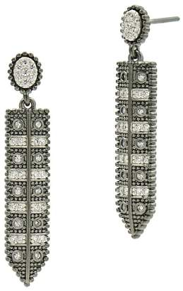 Freida Rothman Two-Tone Rhodium Plated Sterling Silver Industrial Pave CZ Linear Drop Earrings