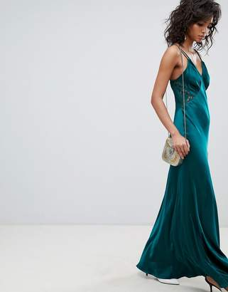 Ghost Satin Maxi Cami Dress With Lace Inserts
