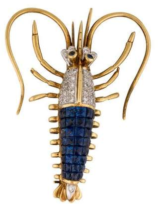 18K Sapphire & Diamond Lobster Brooch
