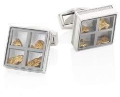 Tateossian Precious Window Diamonds, Gold nuggets& Stainless Steel Cuff Links