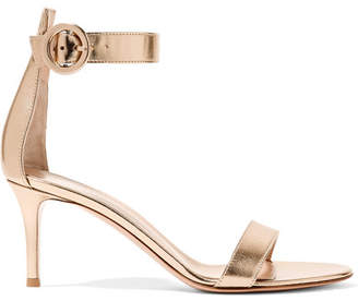 Gianvito Rossi Portofino 70 Metallic Leather Sandals - Gold
