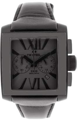 TW Steel Unisex Quartz Watch with Black Dial Chronograph Display and Black Leather Strap CE3013