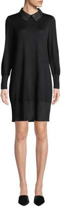 Misook Grommet-Collar Long-Sleeve Sweater Dress