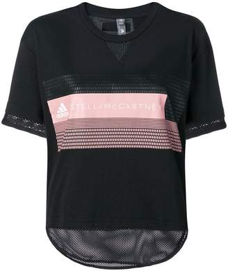 adidas by Stella McCartney mesh panel logo T-shirt