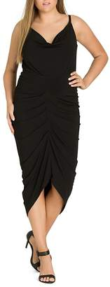 City Chic Plus Temptress Ruched Midi Dress
