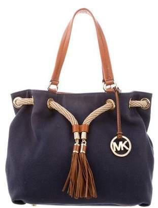 MICHAEL Michael Kors Leather-Trimmed Canvas Shoulder Bag