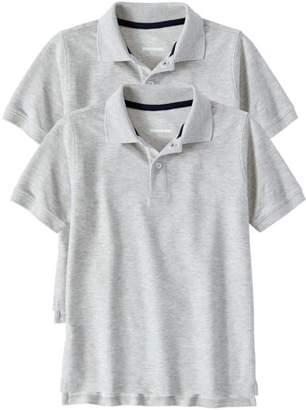 Wonder Nation Boys School Uniform Short Sleeve Double Pique Polo, 2-Pack Value Bundle
