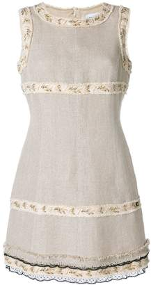 Chanel Pre-Owned embroidered trim shift dress