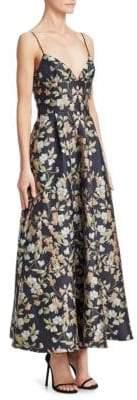 ML Monique Lhuillier Tea Length Floral Dress