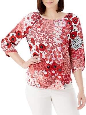 Olsen Floral Puff-Sleeve Blouse