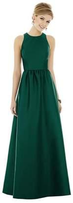 Alfred Sung Dessy Women's Full Length Sleeveless Sateen Twill Dress