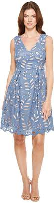 Adrianna Papell Bella Lace Fit and Flare A-Line Sleeveless V-Neck Dress Women's Dress