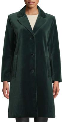Jane Post Single-Breasted Velvet Coat