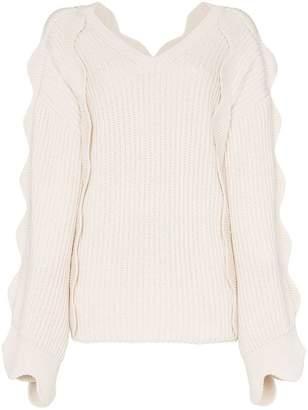 Stella McCartney scallop sleeved oversized knitted jumper