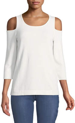 NYDJ Cold-Shoulder Three-Quarter Sleeve Sweater