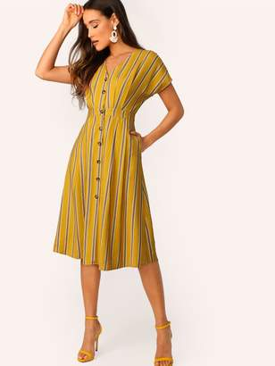Shein Batwing Sleeve Pocket Side Striped Shirt Dress