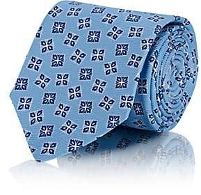 Kiton MEN'S FLORAL-MEDALLION SILK NECKTIE - LT. BLUE