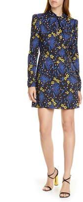 Self-Portrait Floral Long Sleeve Jersey Crepe Minidress