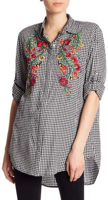 Dex Floral Embroidery Check Print Blouse