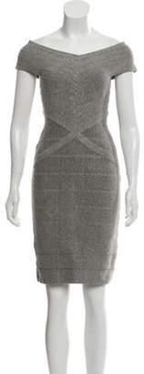 Herve Leger Bandage Mini Dress Grey Bandage Mini Dress