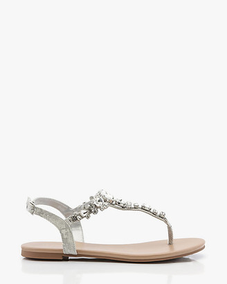 Le Château Jewel & Snake Embossed T-Strap Sandal