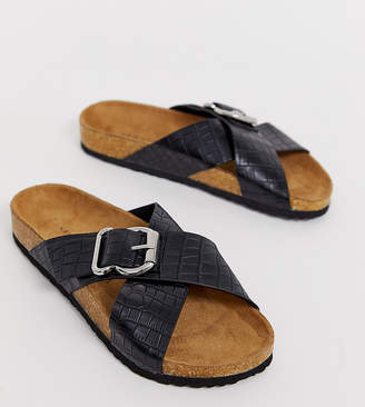 New Look footbed flat sandal in black croc