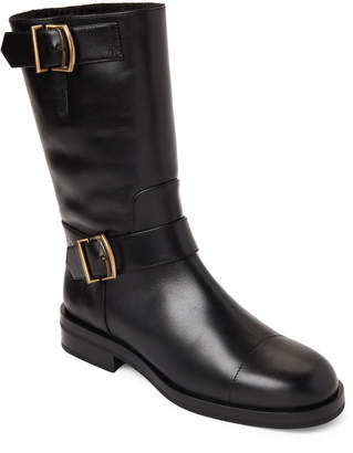 Jil Sander Black Sheepskin-Lined Leather Buckle Boots