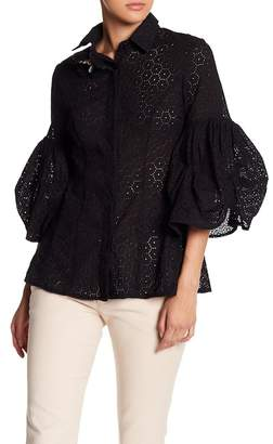 CQ by CQ Puffy Sleeve Eyelet Lace Blouse