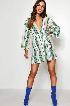 boohoo Petite Kimono Sleeve Stripe Swing Dress