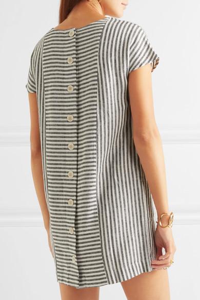 Madewell - Daphne Striped Linen-blend Mini Dress - Gray 4