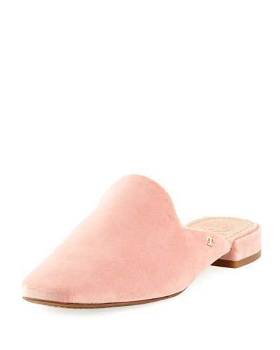 Tory Burch Carlotta Velvet Flat Mule Loafer, Light Pink