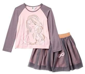 Petit Lem Raglan Long Sleeve Top & Skirt Set (Toddler & Little Girls)
