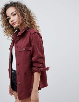 Miss Selfridge utility shacket in red