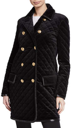 Escada Quilted Velvet Double-Breasted Caban Coat